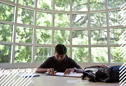 Student studying in light-filled room on wooded campus