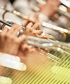 Light glints off a row of brass instruments gripped by student musicians